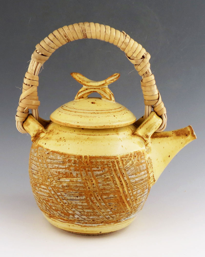 ©Terry Parker Yellow Salt Textured Teapot, Stoneware