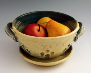 Yellow Salt / Turquoise Berry Bowl, Stoneware