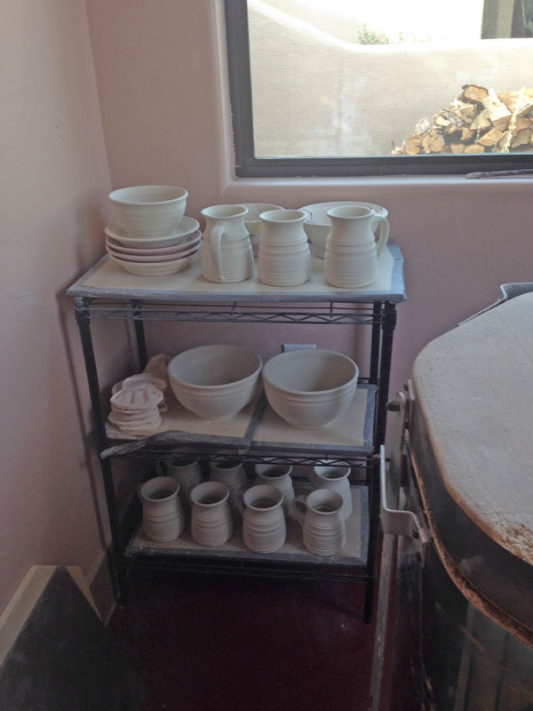 Dry pots waiting to be loaded into the electric kiln for the bisque firing!