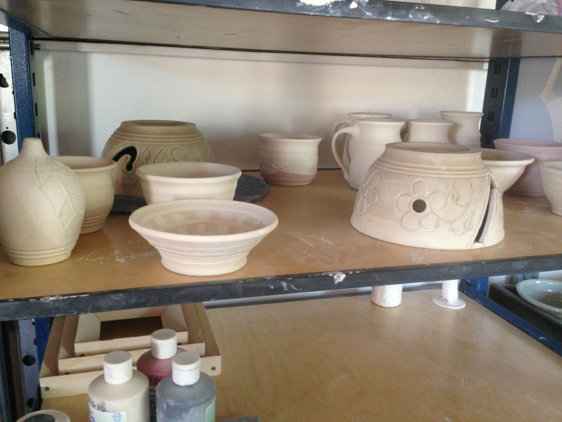 Carved yarn bowl and friends - drying!