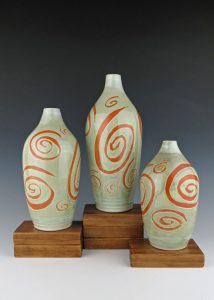 Spiral Bottles, Porcelain, Created for DeGrazia Little Gallery Exhibit